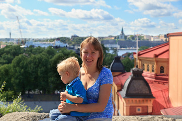 Mother and baby in Stockholm, Sweden