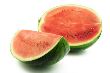 Half and slice of watermelon