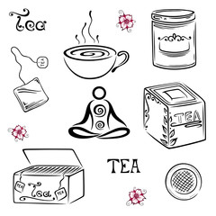 Tee, tea, Kirschblüten, Wellness, vector set