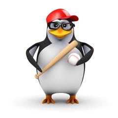 3d Penguin with baseball and bat