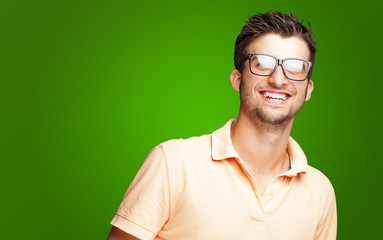 Happy Young Man Wearing Glasses