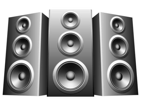 Three big speakers.