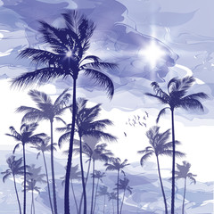 Wall Mural - Palm trees at cloudy sunset