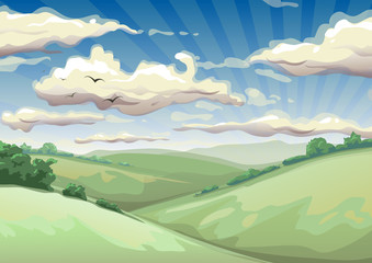 landscape with clouds vector illustration