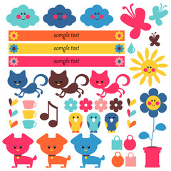 A set of cute elements for kids