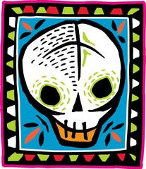 White skull on colorful bordered background
