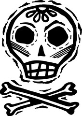 Black and white skull with crossbones