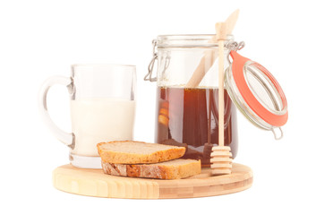 rye bread meal with honey and milk