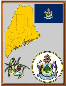 USA state Maine flag map coat bird