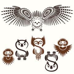 Set of various owls