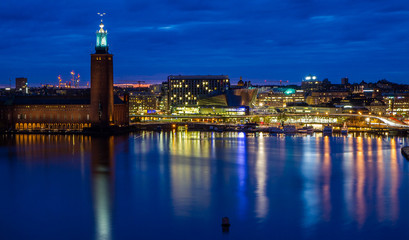 Stockholm cityhall skyline during night