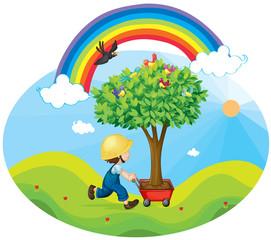 Door stickers Rainbow boy carrying tree