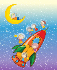 Poster Cosmos kids on moon and spaceship