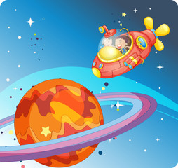Garden Poster Cosmos kids in spaceship and saturn
