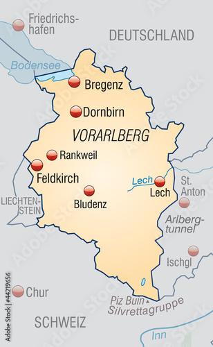vorarlberg karte Karte von Vorarlberg und Umland mit Hauptstädten