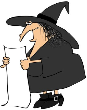 Witch reading from a long paper