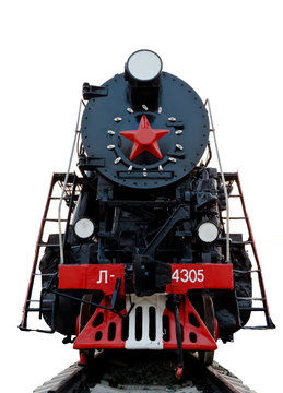 The steam locomotive old. Carved on a white background