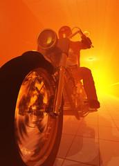La pose en embrasure Motocyclette Silhouette of a rider on an orange background.