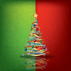 green red greeting with Christmas tree