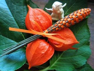 Lampionblumen mit kleinem Engel