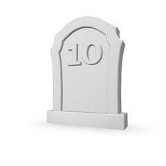number ten on gravestone