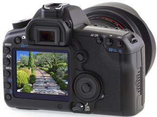 jardin provençal sur appareil photo numérique