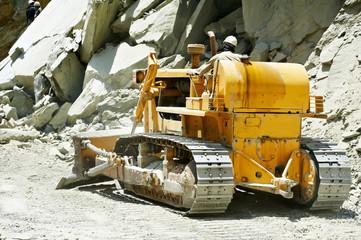 track-type loader bulldozer excavator at road work