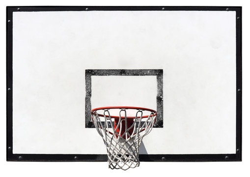 Basketball backboard on the school basketball court isolated on white background