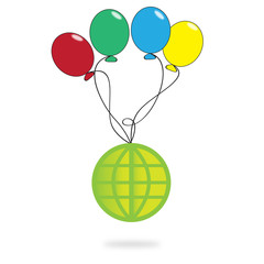 Global with balloon on white background