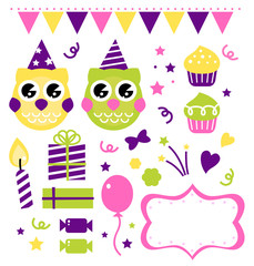 Owl birthday party design elements isolated on white