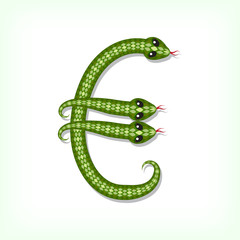 Snake font. Euro symbol