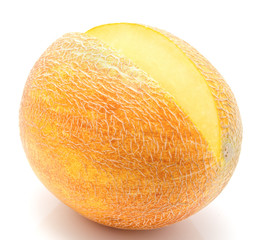 Ripe melon isolated on a white