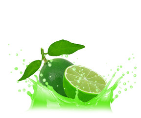 Splash with lime isolated on white