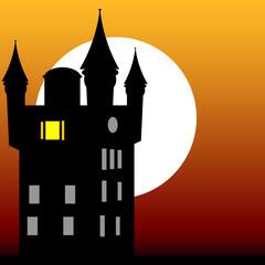 castle at dusk vector