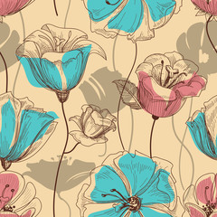 Spoed Fotobehang Abstract bloemen Retro floral seamless pattern