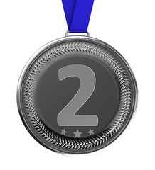 Isolated silver medal with clipping path