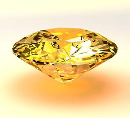 Yellow diamond brilliant 3d