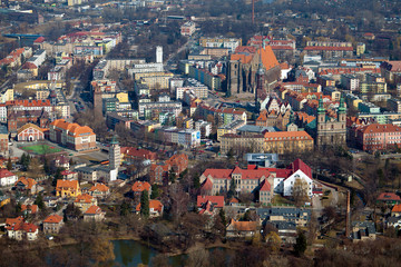 aerial view of Nysa city center