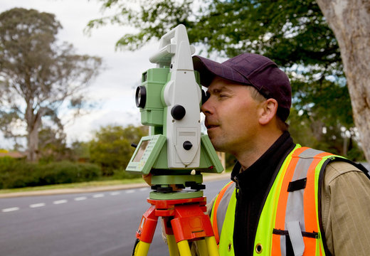 Surveyor checks his work