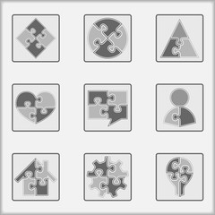 Set of asbtract simple puzzle icons