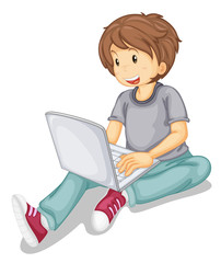 laptop and boy