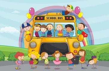 Deurstickers Regenboog kids and school bus