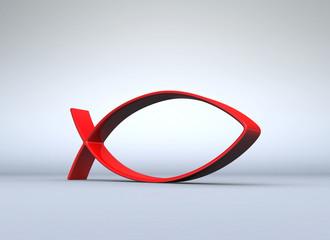 3D ICHTHYS Rot auf Grau 06