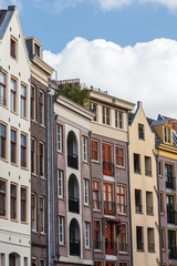Row of old and modern canal houses in Amsterdam