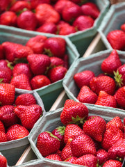 Fresh strawberries for sale on a market