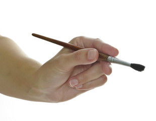 hand with paint brush