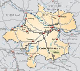 Verkehrskarte des Kantons Oberösterreich mit Umgebung