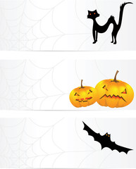 Three halloween banners with a cobweb