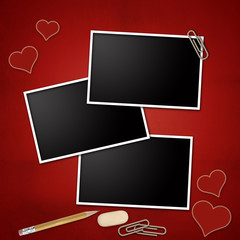 Photo frames with pencil, eraser, clip, notepad, heart