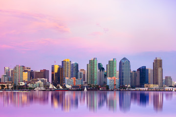Wall Mural - Lovely San Diego skyline at sunset